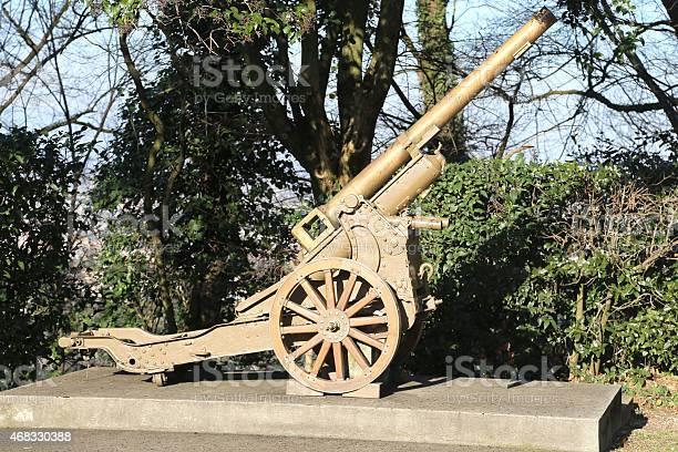 very old gun of World War I in open-air museum