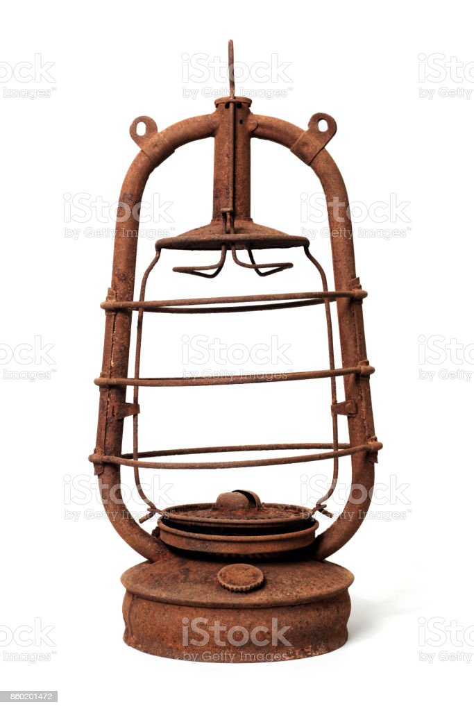 Very old kerosene lamp stock photo