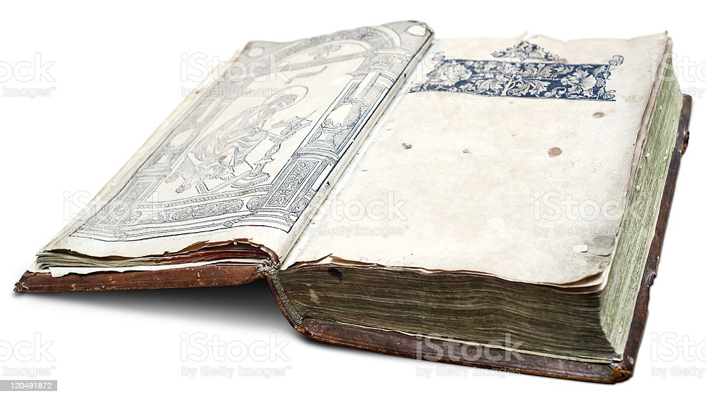 Very old manuscript with clear space on page. royalty-free stock photo