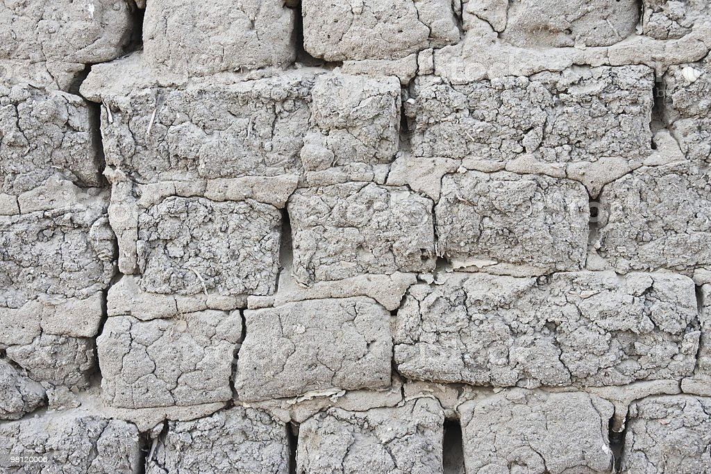 very old mudbrick wall background royalty-free stock photo