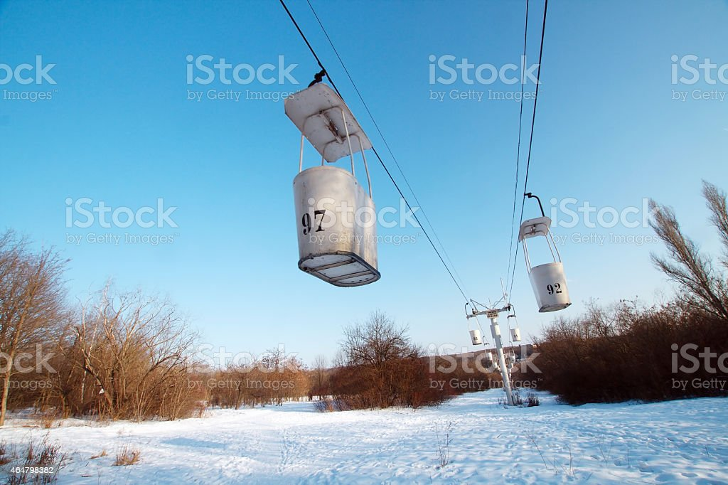 Very old operating funicular cableway in Kharkov in winter stock photo