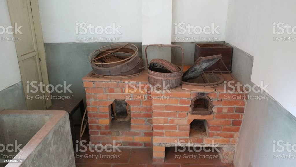 very old outdated kitchen made by brick stock photo