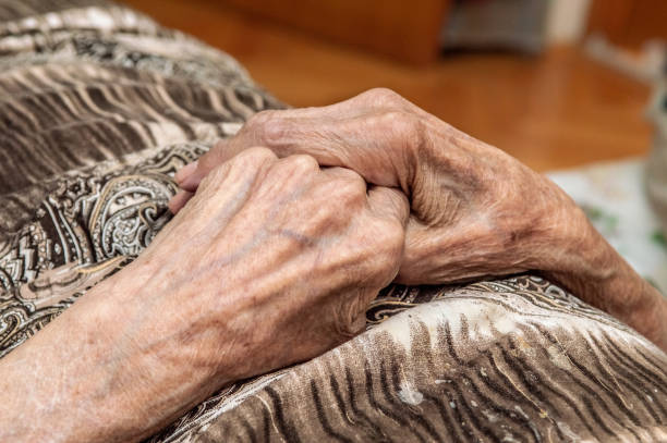 Very old senior woman hands, wrinkled skin, aging process stock photo