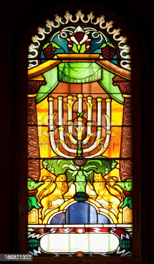 Temple Synagogue stained glass window