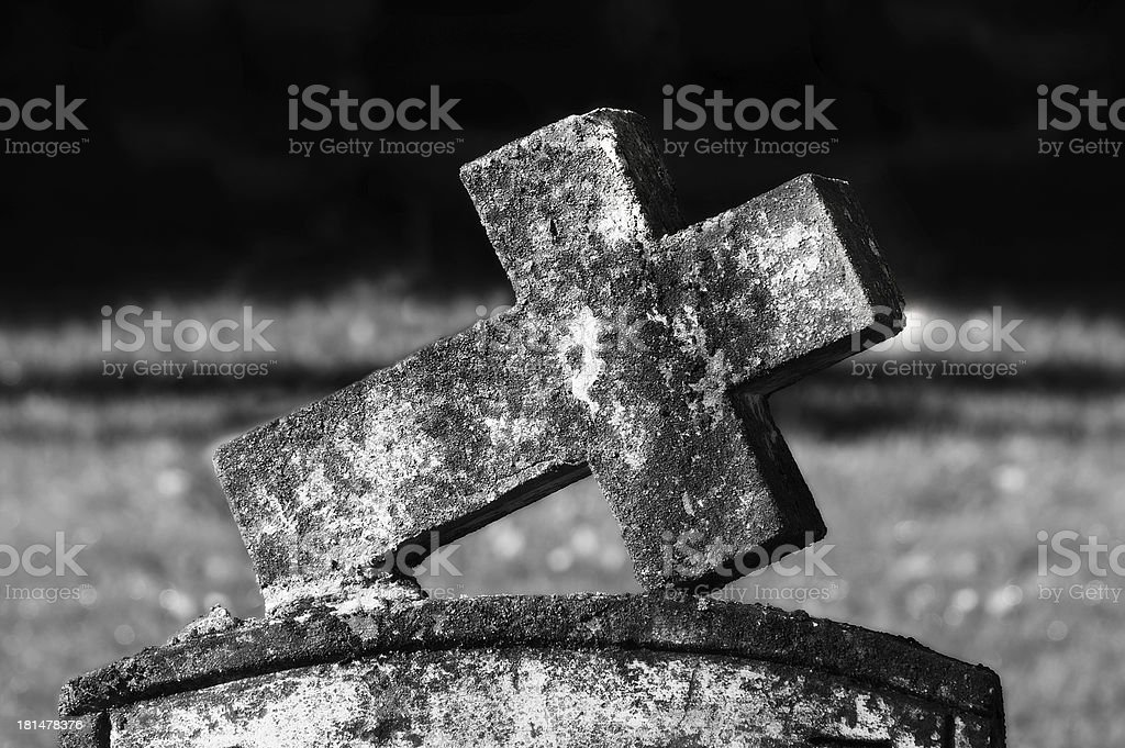 Very Old tombstones cross royalty-free stock photo