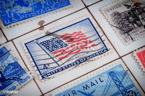 istock very old USA postage stamps 173598565