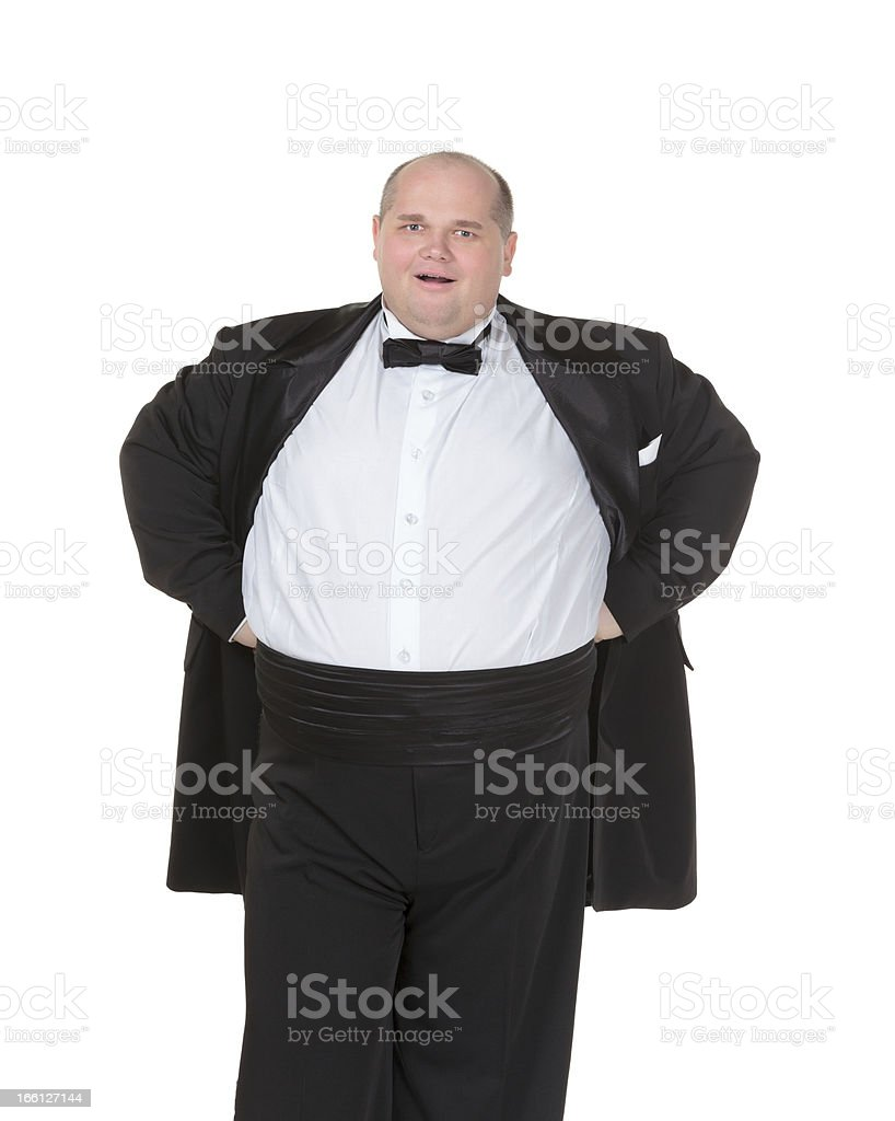 Very overweight cheerful businessman royalty-free stock photo