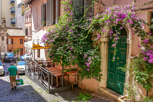 Rome, Italy, June 11 -- A very picturesque and lovely alley decorated with a great bougainvillea plant in the Rione Monti (Monti district), in the heart of the historic center of Rome. The Monti district is a popular and multi-ethnic quarter much loved by the younger generations and tourists for the presence of trendy pubs, shops and restaurants, where you can find the true soul of the Eternal City. The quarter, located between the Esquiline Hill and the Roman Forum, is also rich in numerous churches and archaeological remains from the Roman era. Image in high definition format.