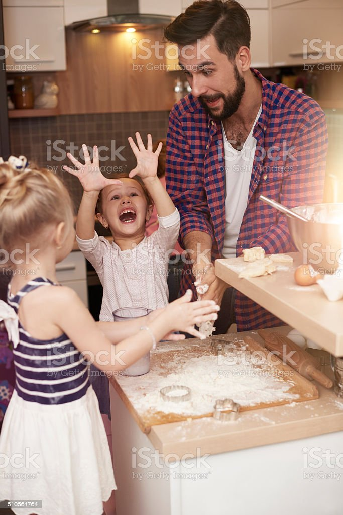 Very positive emotions while spending time with father stock photo