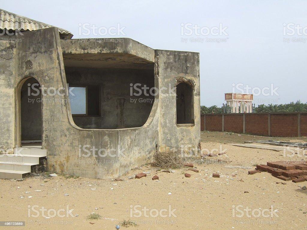Very quiet bungalow with monument stock photo