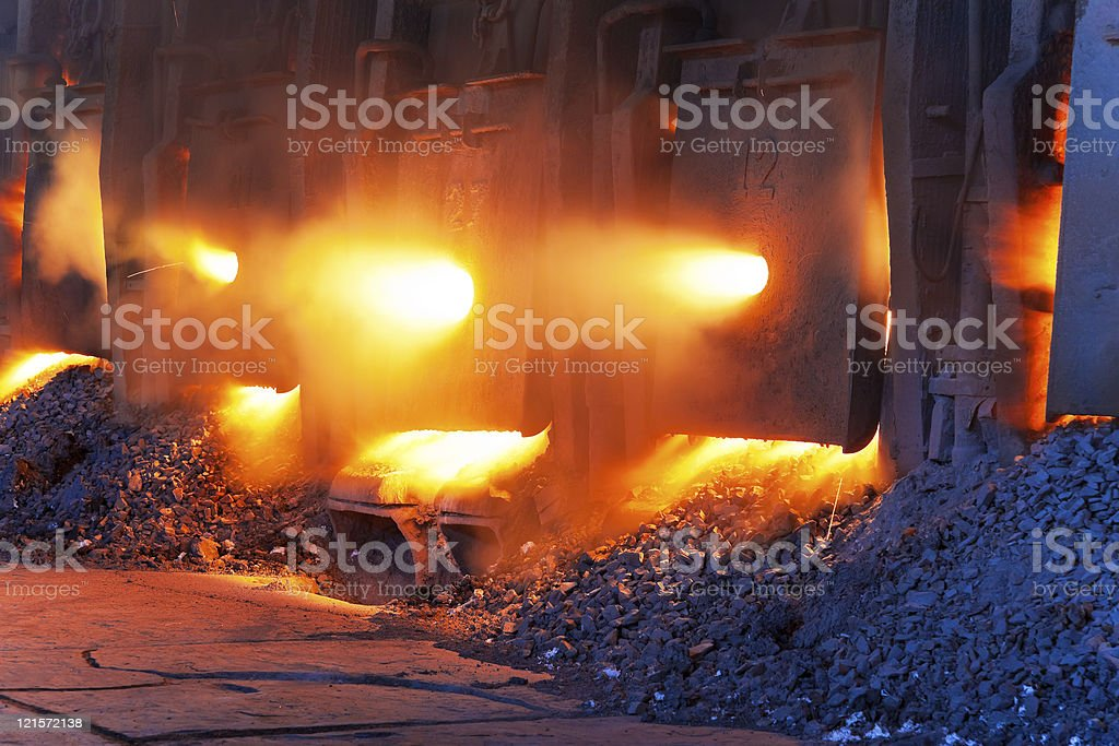Very rare close view of working open hearth furnace royalty-free stock photo