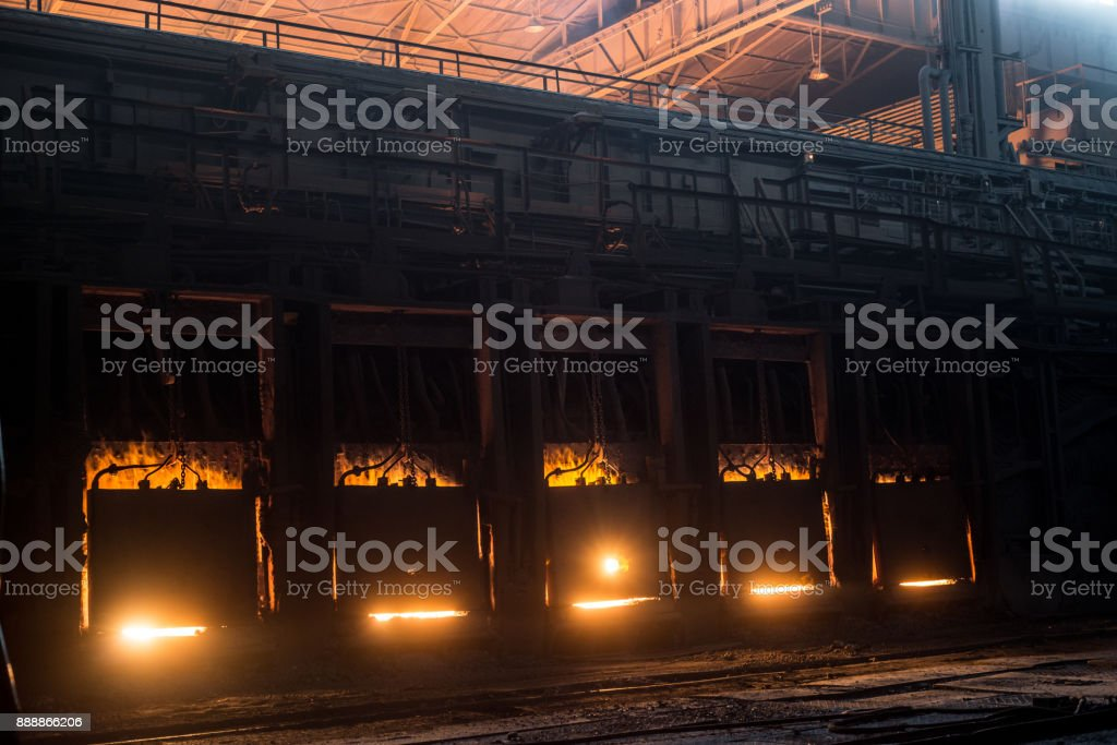 Very rare close view of working open hearth furnace stock photo