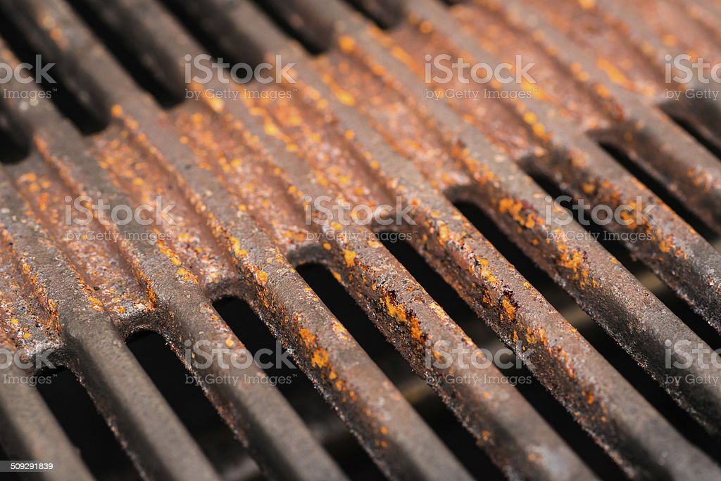 very rusty cooking grate in barbecue royalty-free stock photo