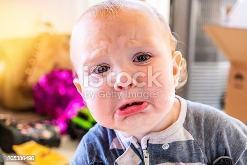 953553492 istock photo Very sad Baby boy pouting looking at the camera 1205386496