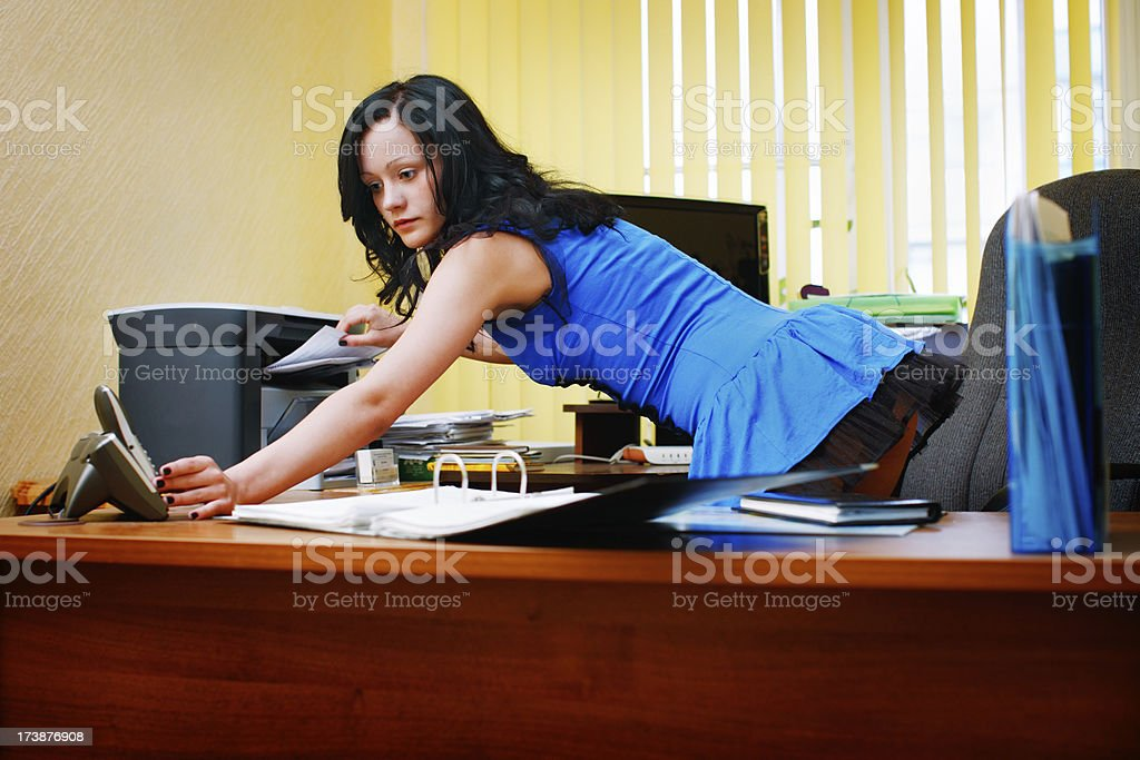 Very sexual and beautiful secretary stock photo