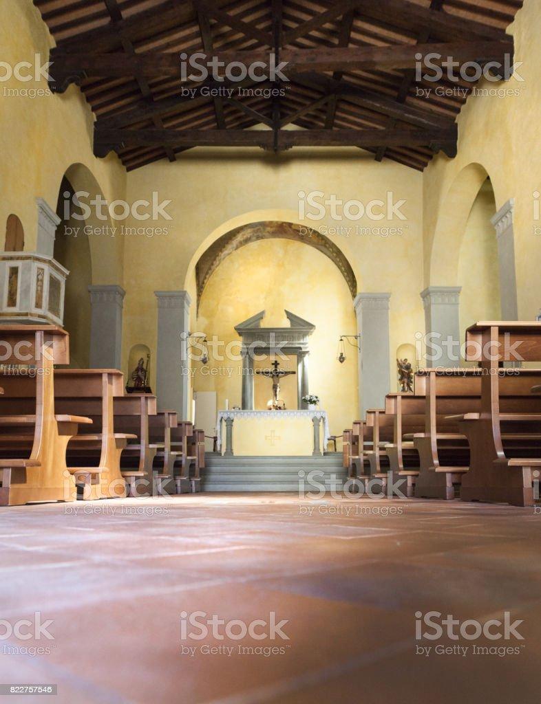 Very simple church interior in Radda in Chianti, Italy stock photo