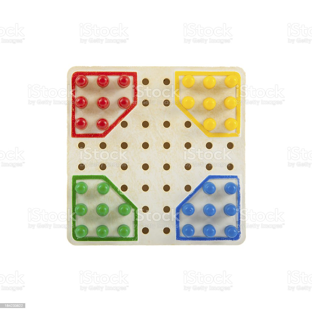 Very small checker board, isolated on white stock photo