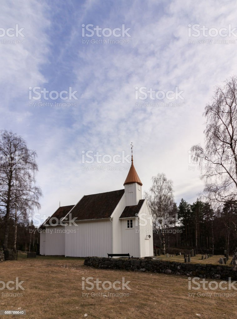 Very small wooden church in Hillestad in Tovdal, Aust-Agder Norway foto stock royalty-free