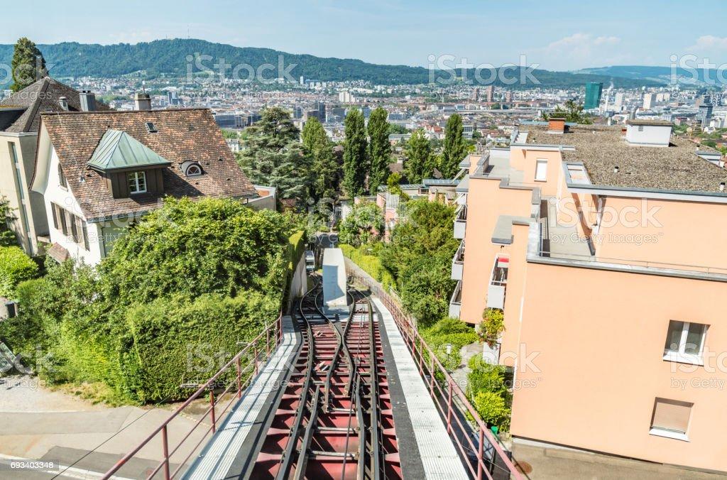 Very steep tram way over Zurich stock photo