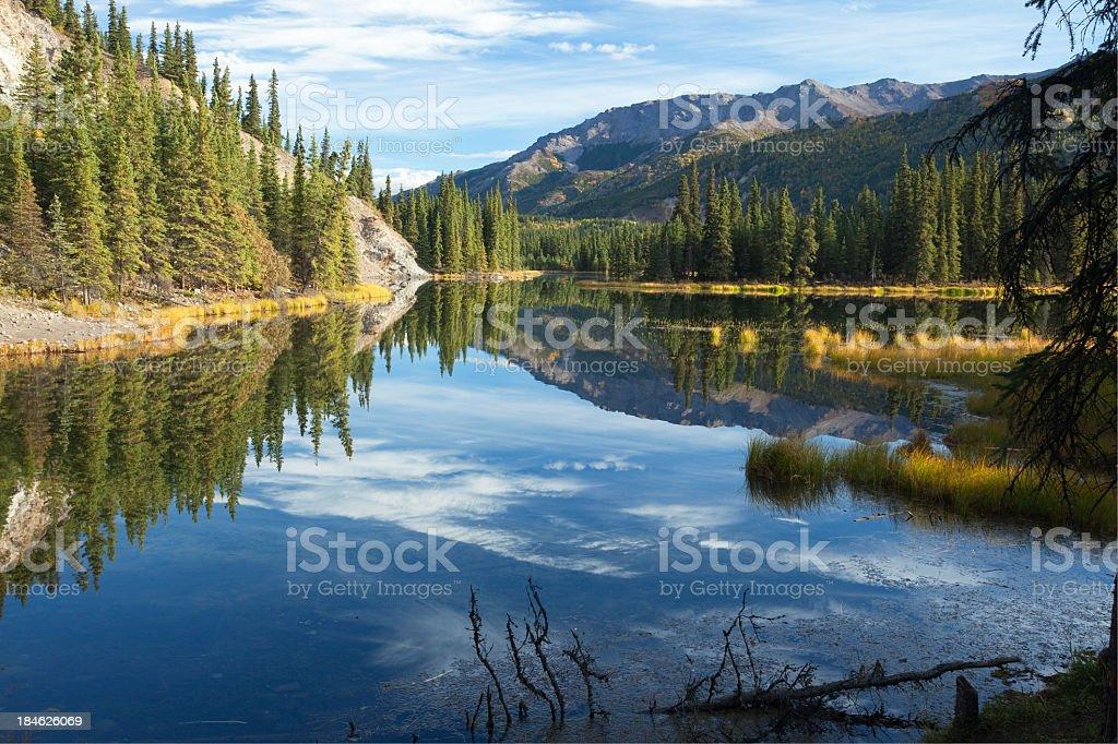 Very still Horseshoe Lake at Denali National Park, Alaska stock photo