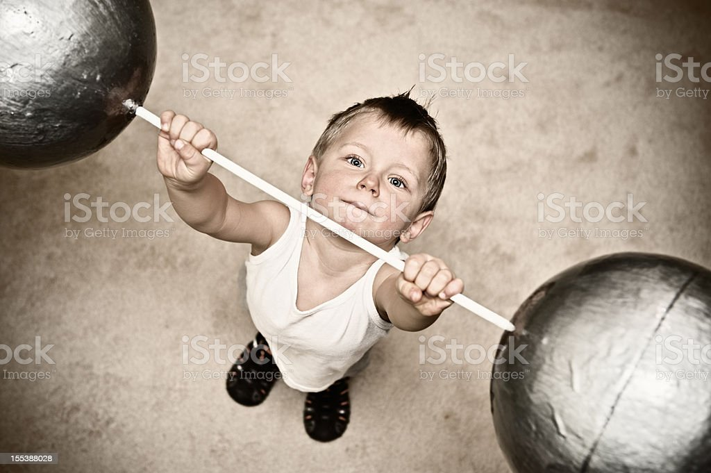 Very strong boy stock photo