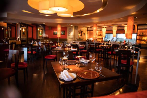 Very stylish indian gourmet restaurant stock photo