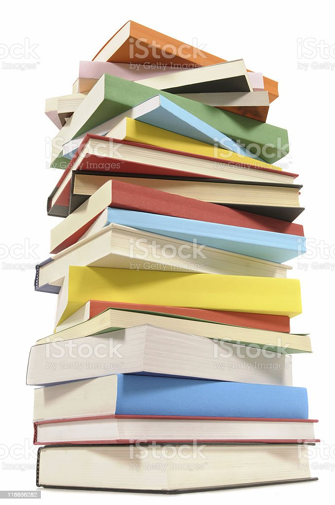 Very tall stack of colorful books royalty-free stock photo