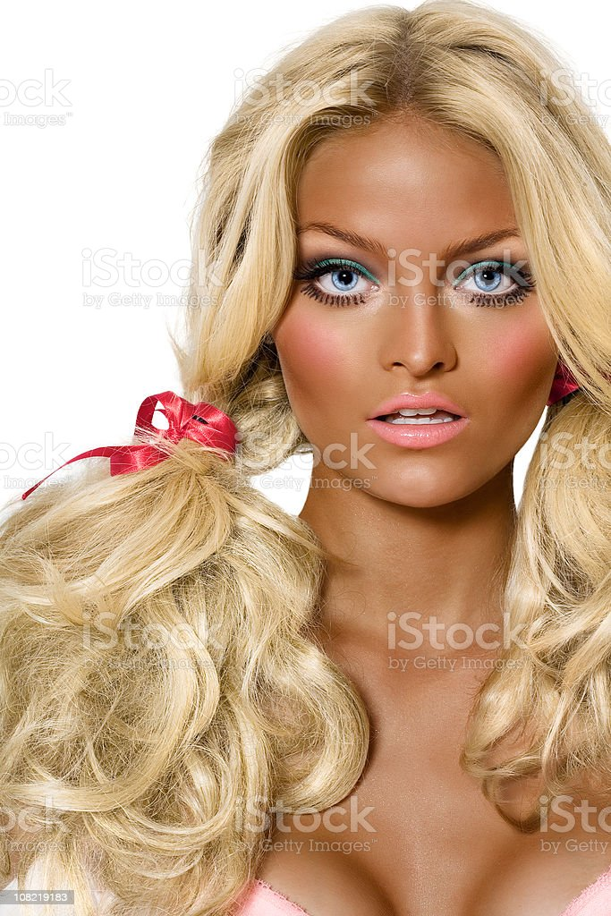 Very Tanned Blond Woman royalty-free stock photo