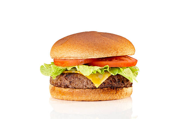 a very tasty cheeseburger with tomatoes and lettuce  - cheeseburger 個照片及圖片檔
