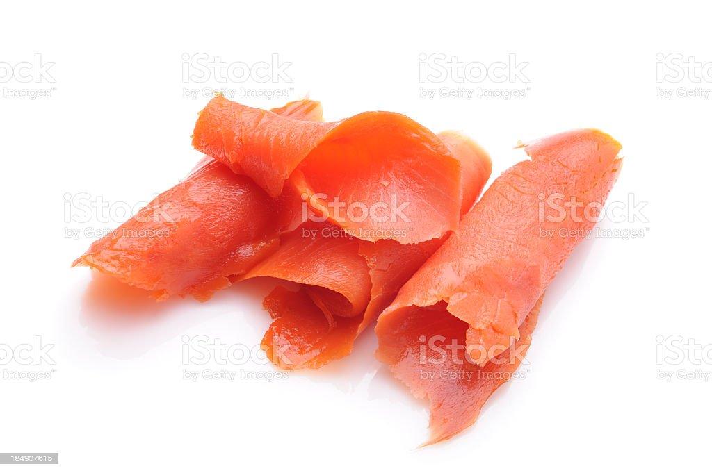 Very thin strips of smoked salmon  stock photo