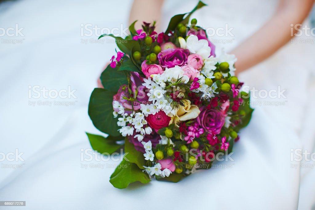 Very uncommon beautiful stylish concept bridal bouquet stock photo