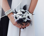 Very uncommon beautiful stylish concept bridal bouquet with black feathers