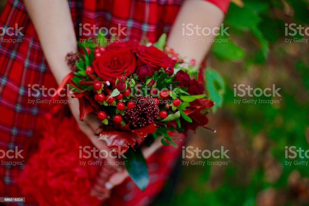 Very uncommon Scottish style concept bridal bouquet autumn trend stock photo