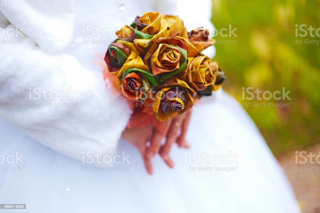 Very uncommon style concept bridal bouquet autumn trend stock photo