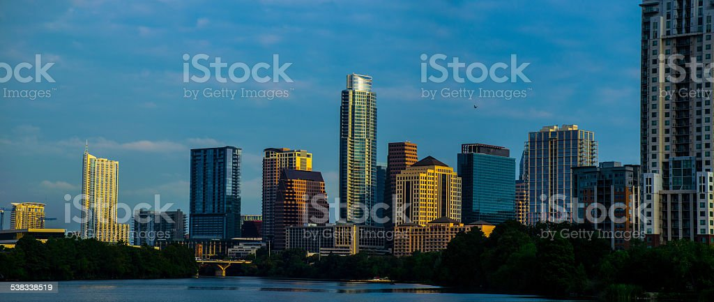 Very Wide Austin Cityscape 2015 sunrise stock photo