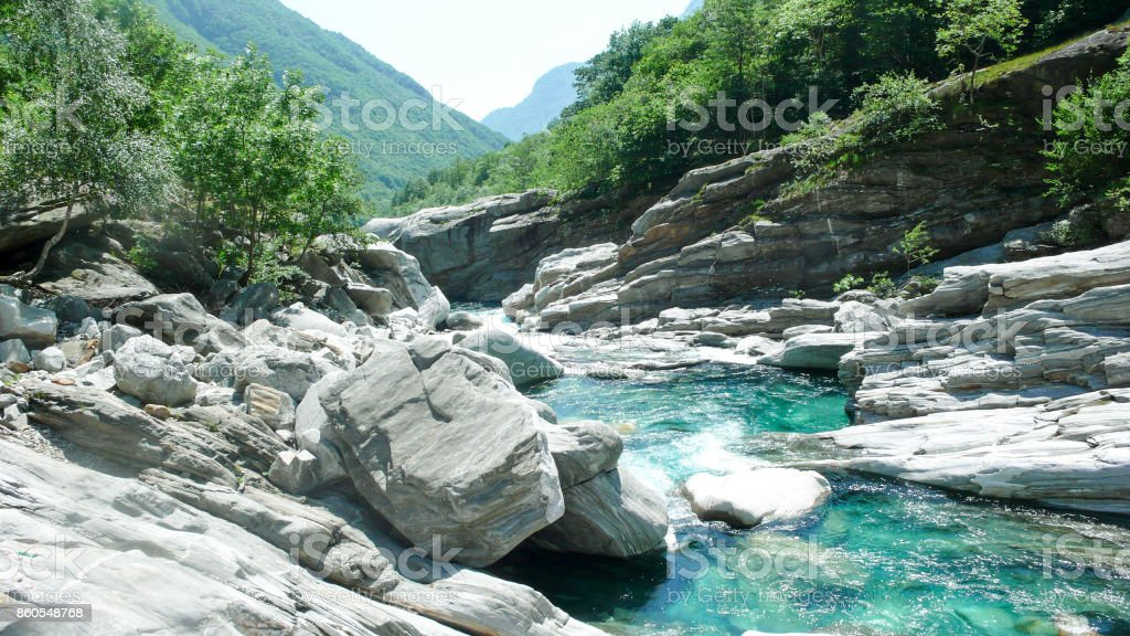 Verzasca River in Switzerland stock photo