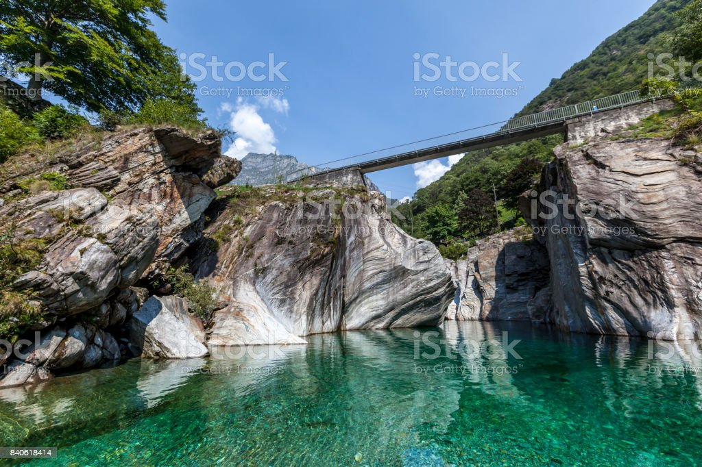 verzasca valley in switzerland stock photo