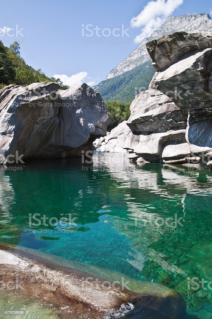Verzasca valley river and canions royalty-free stock photo