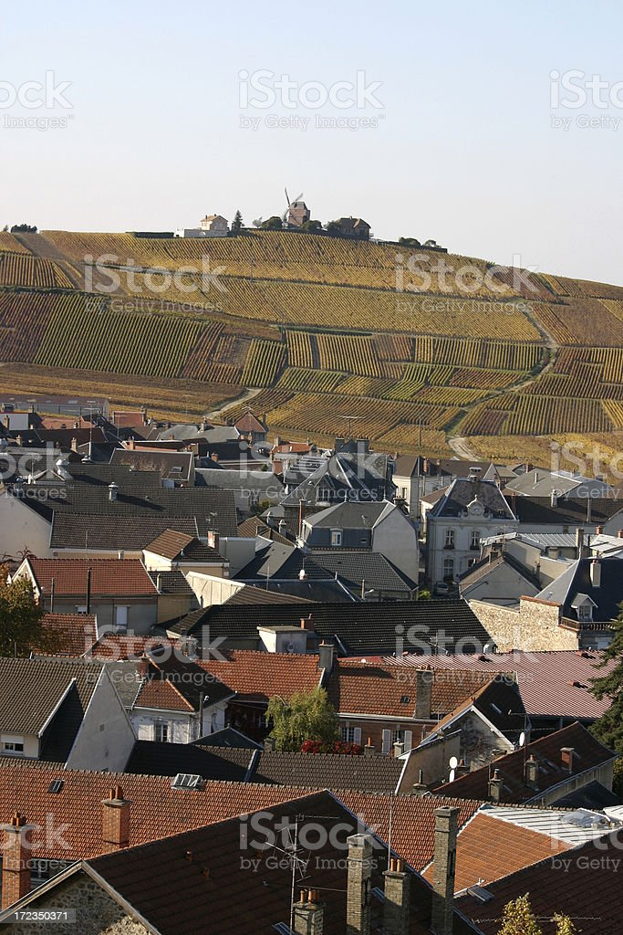 Verzenay and Windmill on the Champagne Route royalty-free stock photo