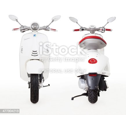 Istanbul, Turkey - August 22, 2013: A Vespa 946 Motorcycle is produced by Piaggio & Co. S.p.A. in Italy. This Vespa 946 motorcycle has 150cc engine, traction control system and ABS brakes. Also this Vespa 946 is produced as handmade.