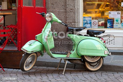 Saint-Malo, France - June 02 2020: An old Vespa PX150 parked in the street.