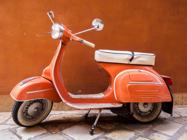 Vespa scooter on Corfu street, Greece stock photo