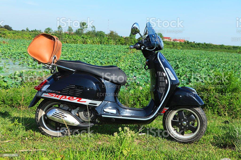 Vespa Super GTS motorbike stock photo