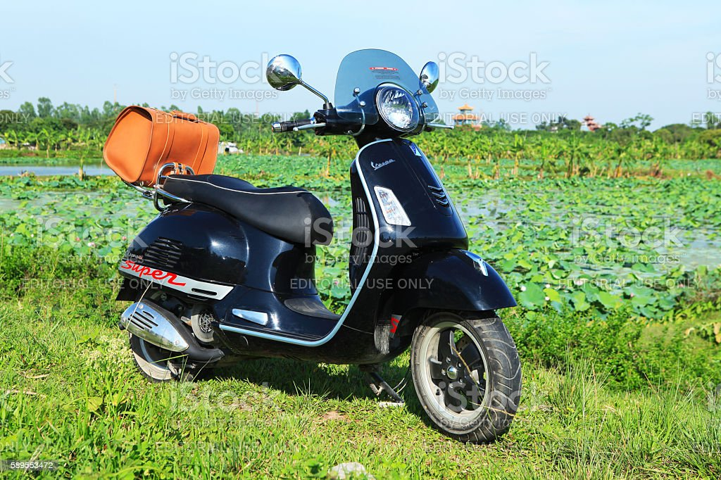 Vespa Super GTS motorcycle stock photo