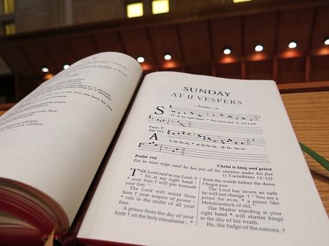 Vespers Chanting Prayer Choir Monk Music in Catholic Church