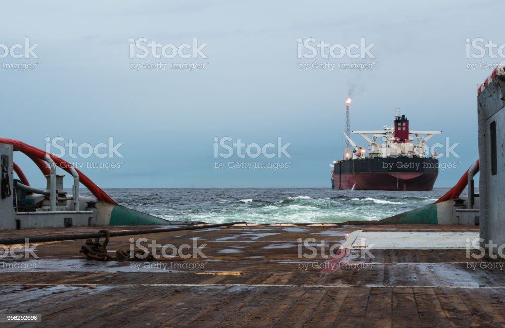 Ahts Vessel Doing Static Tow Tanker Lifting Ocean Tug Job Stock