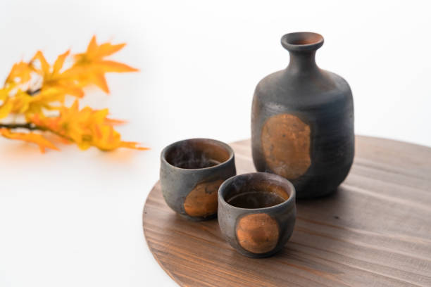 A vessel for drinking sake stock photo