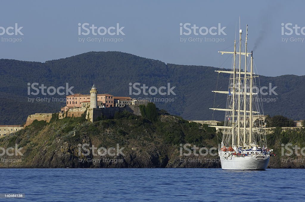 Vessel in a bay royalty-free stock photo