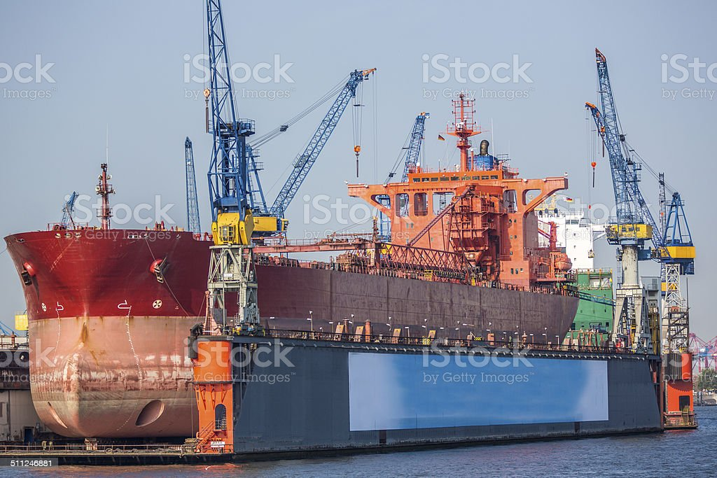 Vessel in Drydock at Hamburg Port-Germany stock photo