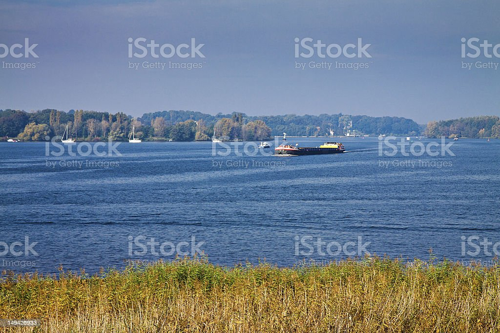 Vessel on the river stock photo